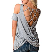 iMakCC Women Back Cross Knot Cold Shoulder Backless Wrap Blouse T-Shirt Short Sleeve Tops