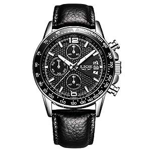 Hombre Relojes Cuarzo Analógico Hombres Marca de Lujo LIGE Cronógrafo Militar reloj de pulsera Moderno Impermeable Hombre Reloj Cuero Negro: Amazon.es: ...