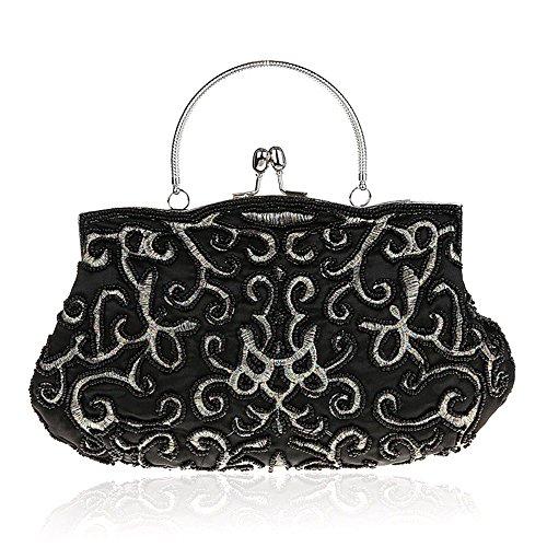 Bag Beads Women Handbag Party Black Beading Clutch Bag Cocktail Evening Flowers Purse Bride YwAq4