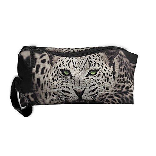 Cosmetic Bags Brush Pouch Makeup Bag Snow Leopard With Blue Eyes Zipper Wallet Hangbag Pen Organizer Carry Case Wristlet -