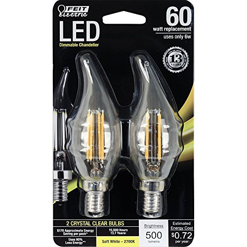 Feit Electric BPCFC60/827/LED/2 Flame Tip Chandelier Bulb (2 Pack), Candelabra Base, Clear Flame Tip, 60 Watt Equivalent Soft White