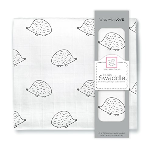 SwaddleDesigns Cotton Muslin Swaddle Blanket, Black Hedgehog