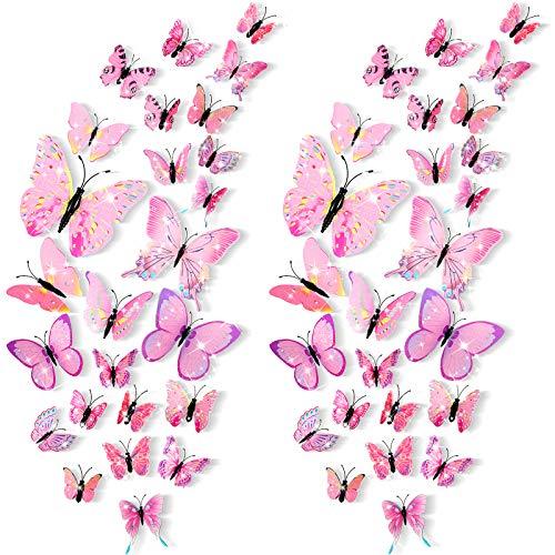 48 Pegatinas de Pared de Mariposa 3D Calcomanías de Pared de Mariposa Extraíbles Pegatina Mural de Pared Bling Animado…