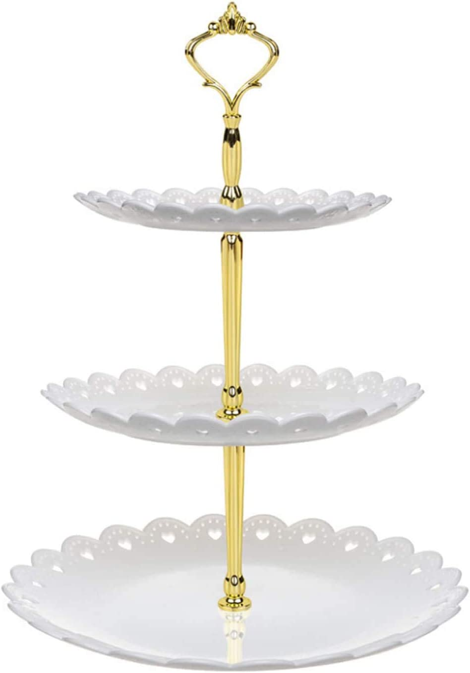 Cupcake Stand Plastic Three Tiered Party Serving Stand, Dessert Tower Tray Fruits Desserts Plates for Tea Birthday Party Wedding