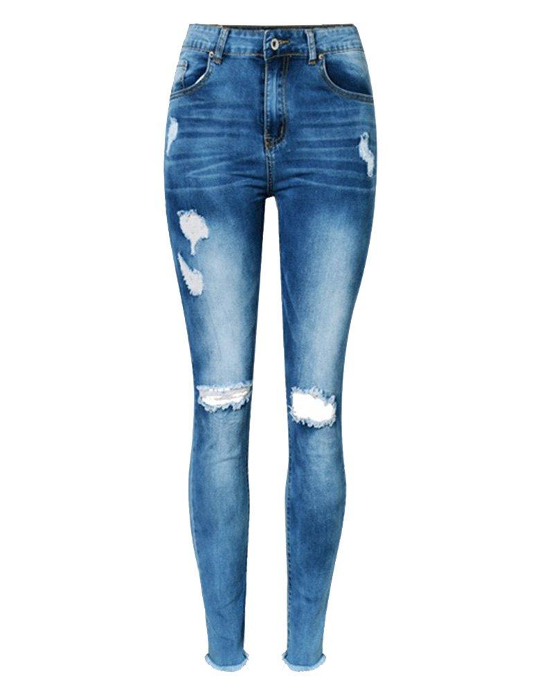 SaiDeng Mujer Alto Cintura Delgado Fit Stretch Distressed Agujero Rasgado Denim Jeans