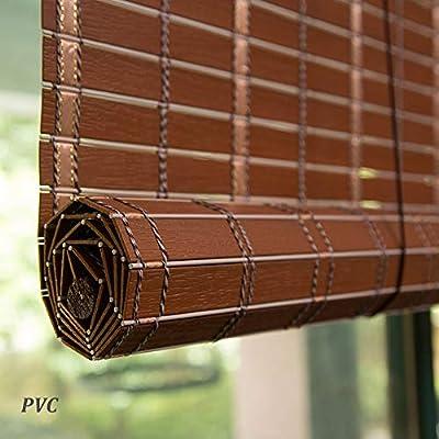 Estores Enrollables Cortinas Opacas De PVC De Privacidad De Estilo Japonés, Persianas Al Aire Libre Retro De La Pérgola del Gazebo del Patio Al Aire Libre Impermeable, 60/80/100/120 / 140cm De Ancho: