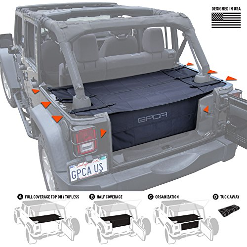 GPCA Cargo Cover PRO and Cargo Organizer Freedom Pack for TOP ON/ TOPLESS Jeep Wrangler JKU 4DR Freedom Pack, for Jeep Wrangler Sports/ Sahara/ Freedom/ Rubicon 2007- 2018 models
