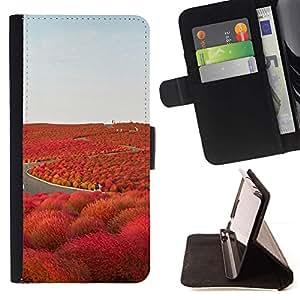 For Sony Xperia M2 Case , Camino de la Libertad Islandia púrpura- la tarjeta de Crédito Slots PU Funda de cuero Monedero caso cubierta de piel