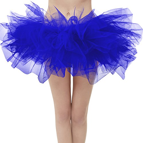Dresstore Women's Vintage 5 Layered Tulle Tutu Puffy Ballet Bubble Skirt Royal Blue Regular Size -