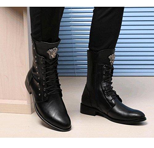 WSK pointu bottes bottes a bottes l'automne mâle de Martin à bottes de dans cuir pour Bottes 38 printemps en aider cylindre augmenté moto et le homme rivets les rFPrwUq