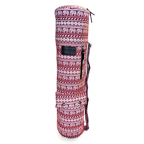 Yoga Mat Sling Bag Carrier Patterned Canvas Three Pockets(Rumble)