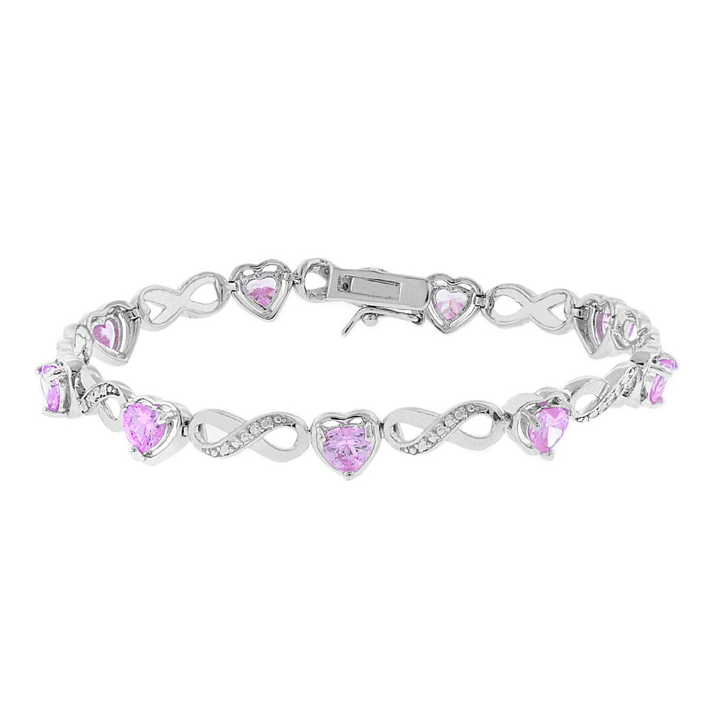 1ef66601c Cate & Chloe Amanda 18k Infinity Heart Tennis Bracelet, White Gold Plated Bangle  Bracelet with Unique Infinity Chain Design & Heart CZ Stones, ...