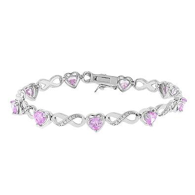 44c0162dc Cate & Chloe Amanda 18k Infinity Heart Tennis Bracelet, White Gold Plated  Bangle Bracelet with Unique Infinity Chain Design & Heart CZ Stones, ...