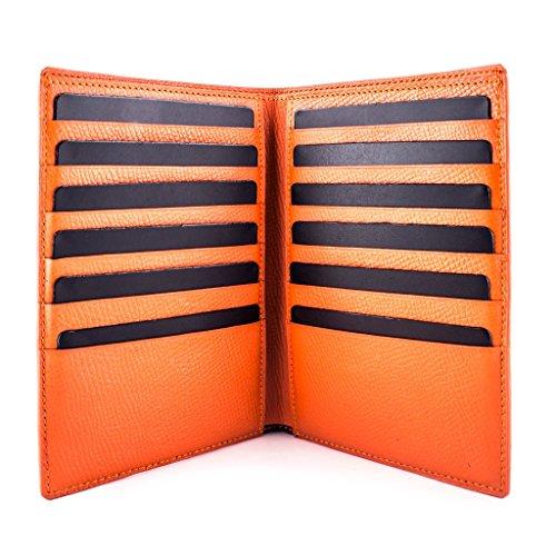 Business vitello Francia arancione di Portafoglio Pelletteria Luxury grana a Pelle wtY4pqx