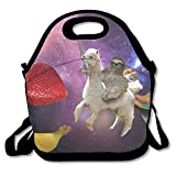 Funny Sloth Riding Llama Cut Fruit Lunch Bags Insulated Travel Picnic Lunchbox Tote Handbag With Shoulder Strap For Women Teens Girls Kids Adults