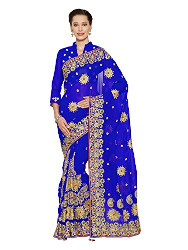 (Wedding Bridal Saree Mirchi Fashion Sari for Women Party Wear (3794_Royal)