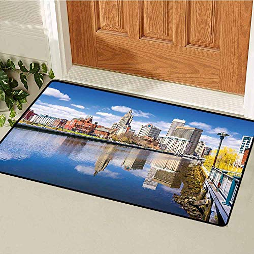 Gloria Johnson United States Welcome Door mat Providence Rhode Island Riverfront Spring Season Water Reflection Buildings Door mat is odorless and Durable W15.7 x L23.6 Inch Multicolor