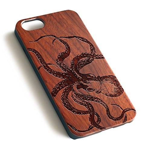 Octopus Sketch precise laser engraved Natural wood case For iPhone 6 6S...