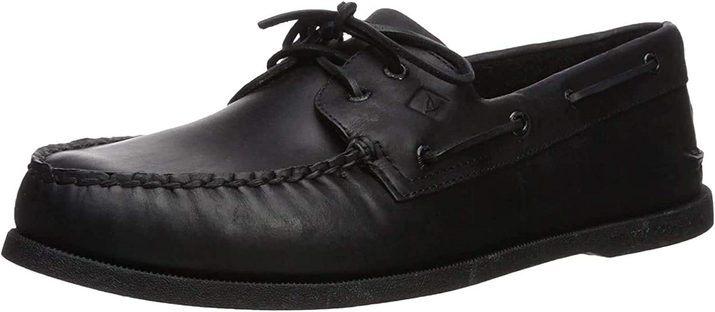 Sperry Mens A/O 2-Eye Boat Shoe, Black