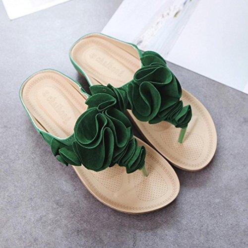 Floral Grün Grün Sandalen Hausschuhe LHWY Schuhe Casual Flache Sommer Absatz Sandalen Elegant Schwarz Pink Sommer Frauen Ziemlich Strand Flip Damen Flops RRqZwCH