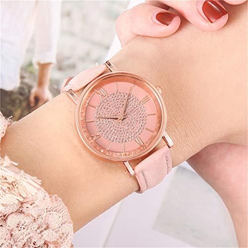 Reloj para Mujer Reloj CláSico Elegante Relojes De Lujo Reloj De Cuarzo Esfera De Acero Inoxidable Reloj Informal Pulsera Impermeable (Rosado)