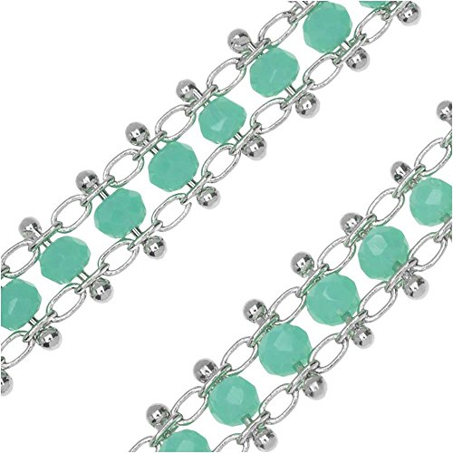 (Zola Elements Bulk Chain, Beaded Cable Links 6mm, by The Foot, Rhodium Plated/Turquoise)