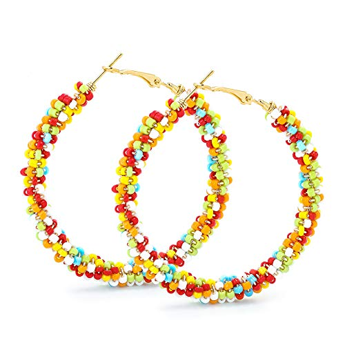 Beaded Hoop Earrings for Women - Handmade Big Circle Beaded Earrings - Idea for Business, Wedding, Party or Daily Wear (Color Rainbow)