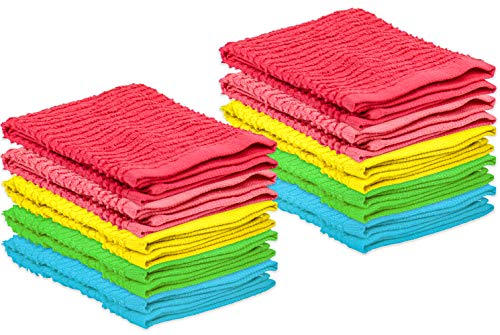 DecorRack 10 Pack Kitchen Dish Towels, 100% Cotton, 12 x 12 Inch Dish Cloths, Perfect Cleaning Cloth for Washing Dishes, Kitchen, Bar, Counter and Car, Spring Colors (Pack of 10)