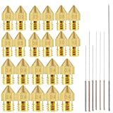 22pcs 3D Printer Nozzles,MK8 Brass Extruder Nozzle Print Head and 7pcs Cleaning Needles for 1.75mm Makerbot Creality CR-10 ANET A8 CR-10 M6 3D Printer. (0.2mm,0.3mm,0.4mm,0.5mm,0.6mm,0.8mm,1.0mm)