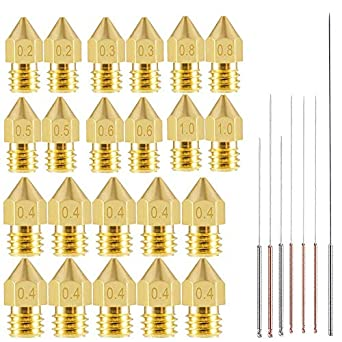 22pcs 3D Printer Nozzles,MK8 Brass Extruder Nozzle Print Head and 7pcs Cleaning Needles for 1.75mm Makerbot Creality CR-10 ANET A8 CR-10 M6 3D ...