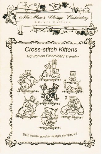 Cross-stitch Kittens for Days-of-the-week Hot Iron Embroidery Transfers ()