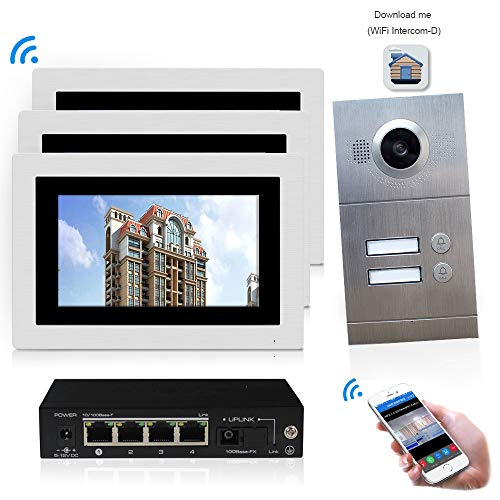 IP Video Door Phone Intercom System 7 inch Wired WiFi/ 3 Indoor Monitor for 2 Apartments Touch Screen HD 720P Outdoor Doorbell Camera
