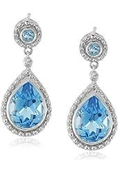 14k White Gold Blue Topaz Pear Shape and Diamond (0.01 cttw, I-J Color, I2-I3 Clarity) Drop Earrings
