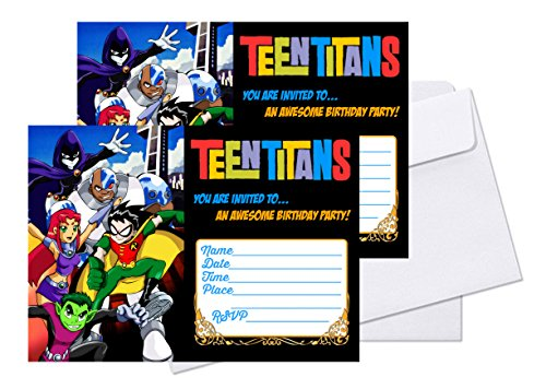 Crafting Mania LLC. 12 TEEN TITANS Birthday Invitation Cards (12 White Envelops Included) #1