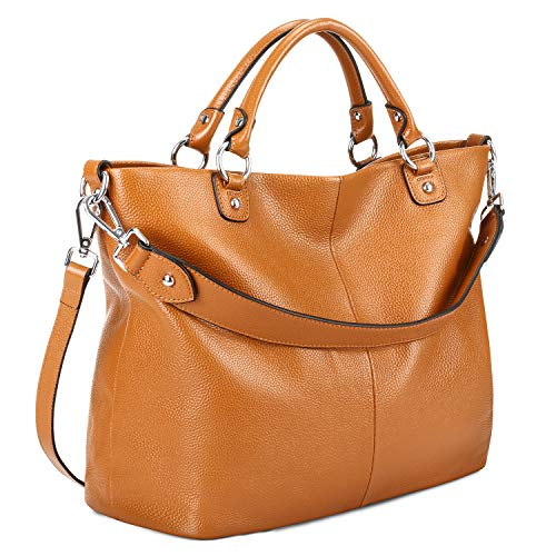 Kattee Women's Soft Genuine Leather Tote Bag, Top Satchel Purses and Handbags Brown (Vintage Dooney And Bourke Purses For Sale)