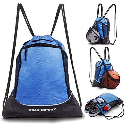 Drawstring Bag with Mesh Net - Sackpack with Ball Net for All Sports - Soccer Bag, Basketball, Volleyball, Baseball for Youth - Sports Sack, Gym Bag for Men and Women, Tote Bag, Light Backpack (Soccer Sack)