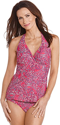 Coolibar UPF 50+ Women's Halter Tankini Top - Sun Protective (Medium- Bright Coral Paisley)