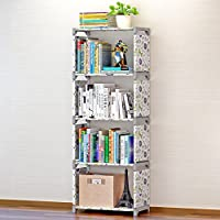 Mulslect Non-Woven Fabric Assembly Folding Bookcase 5 Shelves, Media Cabinet Storage Unit, for Home & Office