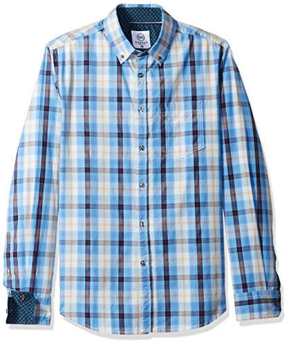 Brushed Cotton Check Mens - Badger Smith Men's Cotton Poplin Checks Slim Fit Button Down Shirt XL Blue