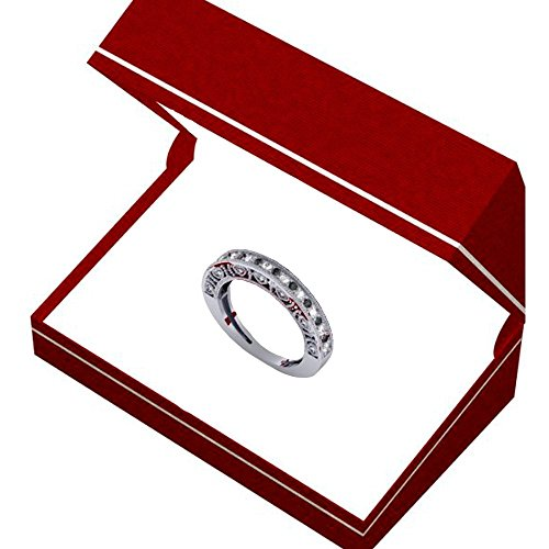 0.40 Carat (ctw) Sterling Silver Round Black & White Diamond Ladies Millgrain Style Wedding Band