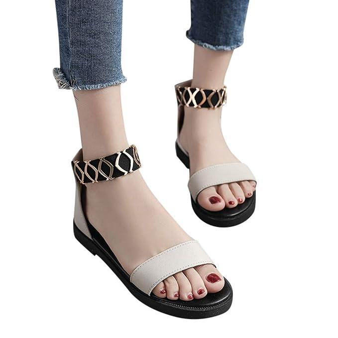 ... Tacones Bajos de Las señoras Sandalias Planas Redondas para Mujer Banda elástica de Metal Zapatos Chanclas Náuticos: Amazon.es: Ropa y accesorios