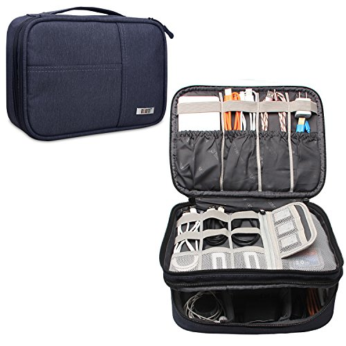 BUBM Electronic Travel Organizer, Double-Layer Gadget Bag for Cables, Cord, Battery and Other Accessories, A Pouch fits for iPad (Large, Dark Blue)