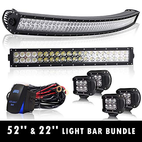 "4XBEAM 52"" Curved Led Light Bar On Roof Top Windshield Mount + 22"" Offroad Work Light For Truck Dodge Ram Polaris Jeep Cherokee Toyota Tacoma Can Am SXS Marine Yamaha YXZ Wildcat Limited 4x4"