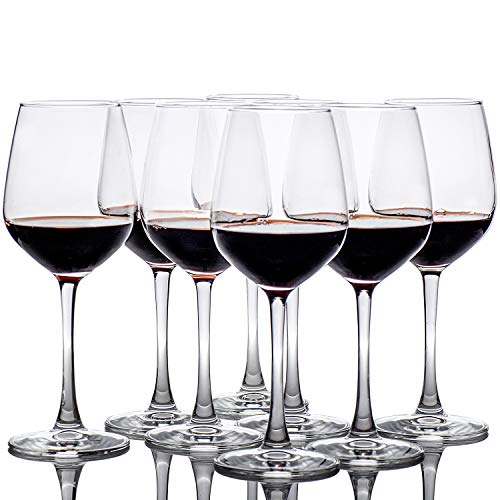 12-Ounce Red White Wine Glasses Set of 8, Lead Free Classic Design Wedding Wine Cups