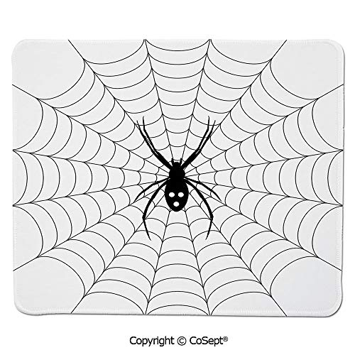 Ergonomic Mouse pad,Poisonous Bug Venom Thread Circular Cobweb Arachnid Cartoon Halloween Icon Decorative,Water-Resistant,Non-Slip Base,Ideal for Gaming (7.87
