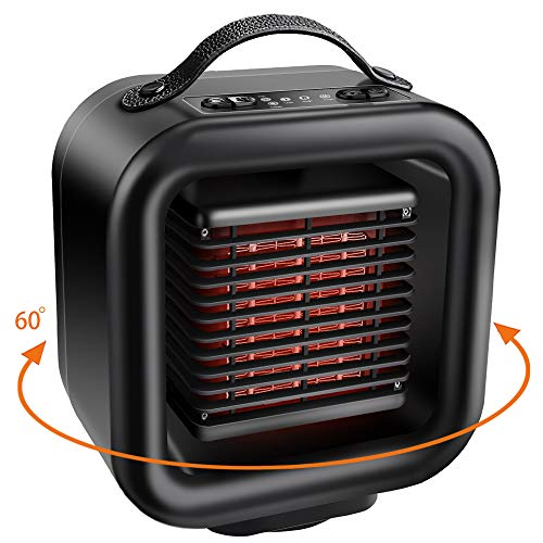 Ceramic Space Heater, KNGUVTH Portable Heater Personal PTC Ceramic Heater Electric Heater Fan Oscillating Space Heater With Tip-over and Overheating Protection for Office/Indoor/ Home (Black)