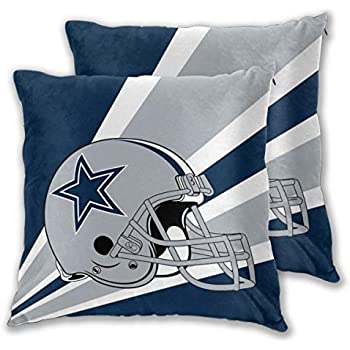 Marrytiny Custom Colorful Pillowcase Set of 2 Dallas Cowboys American Football Team Bedding Pillow Covers Pillow Cases for Sofa Bedroom Home Decorative - 18x18 Inches
