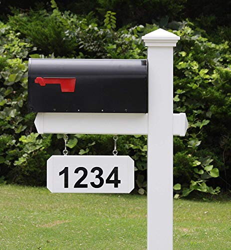 (4EVER The Fitzgerald Mailbox with Post Included, Hanging Blank Address Plate, Black Metal Mailbox with White Vinyl Post Combo Complete System)