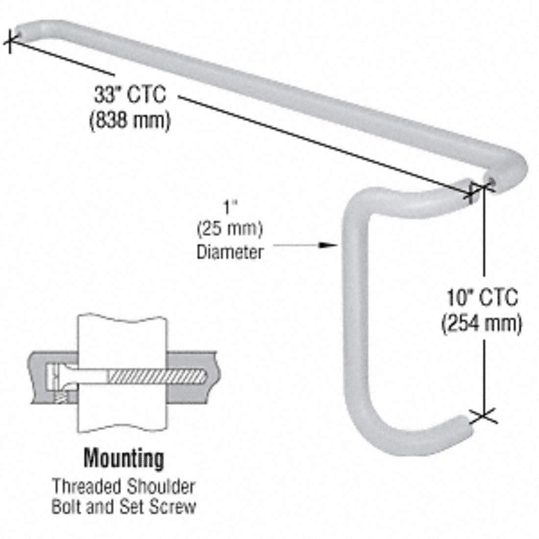 CRL Satin Chrome Solid Push Bar and Pull Handle Set