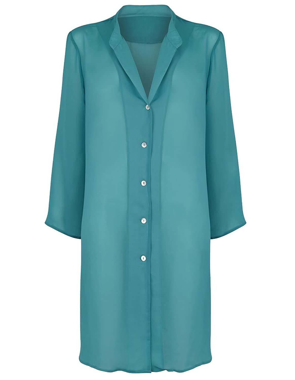Seaspray Plain Style Strand Shirt in Lagunen Blau 36-3048